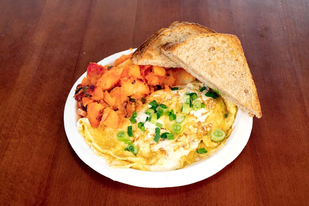 White and Green 2 Eggs Omelet