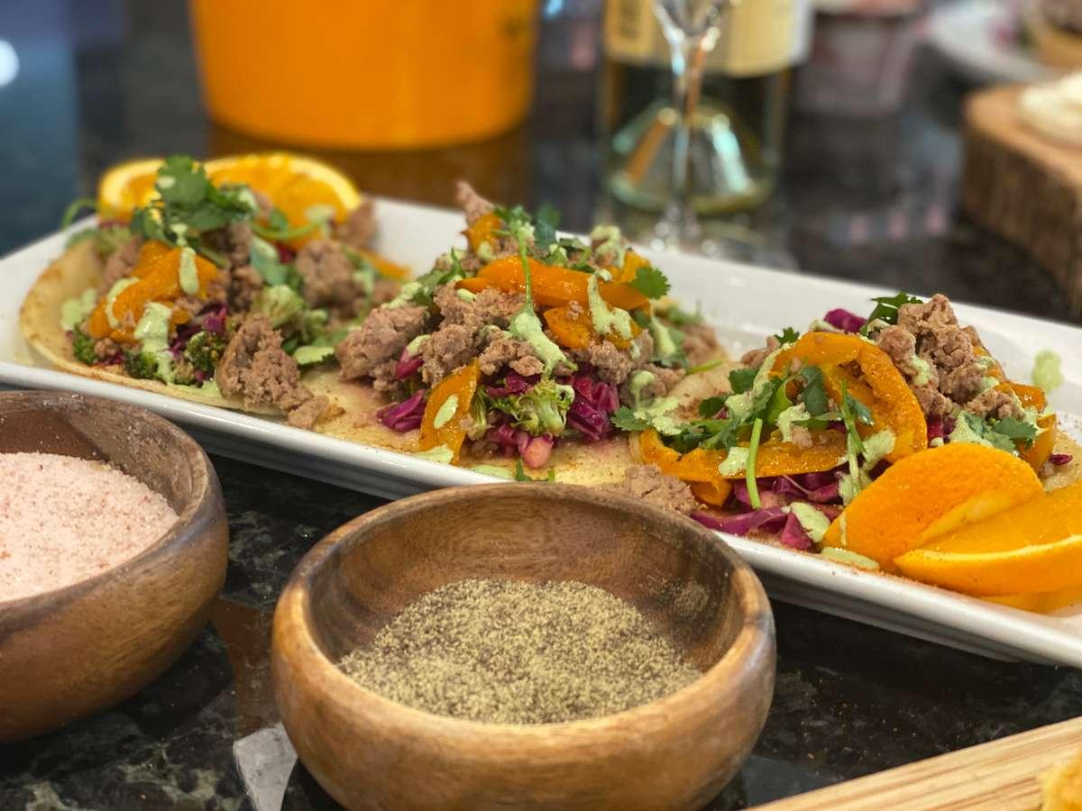 Orange Pepper Duck Tacos