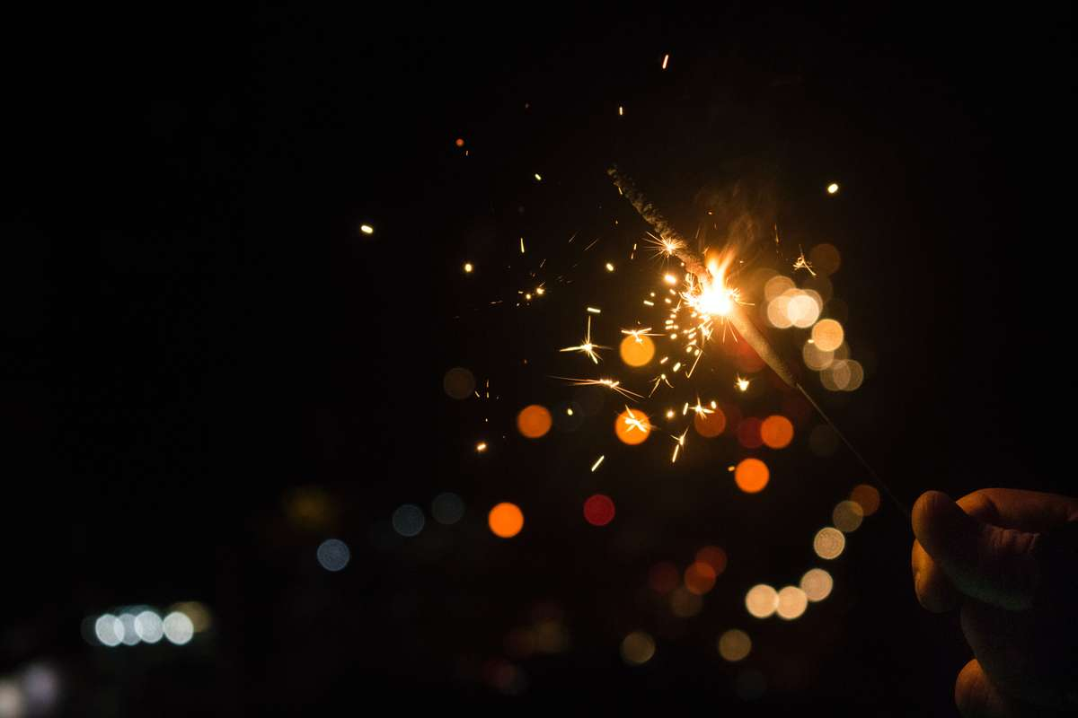 bokeh effect on a sparkler