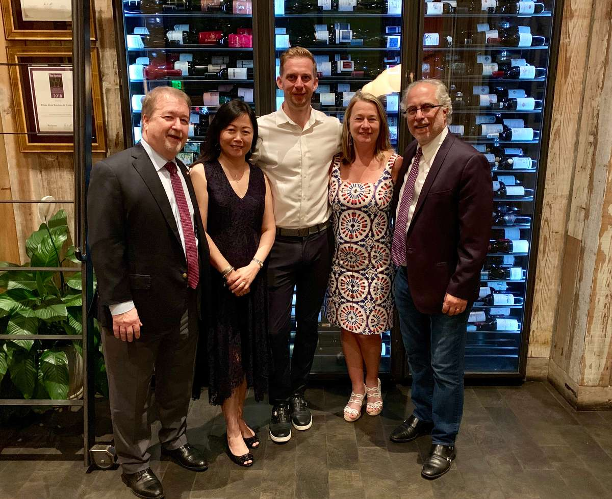 From left to right: Peter Zimmerli (Swiss Consulate), Jun Cui , Tim Willard (European Cellars), Cindy LeBlanc (White Oak), and Alan LeBlanc (White Oak)