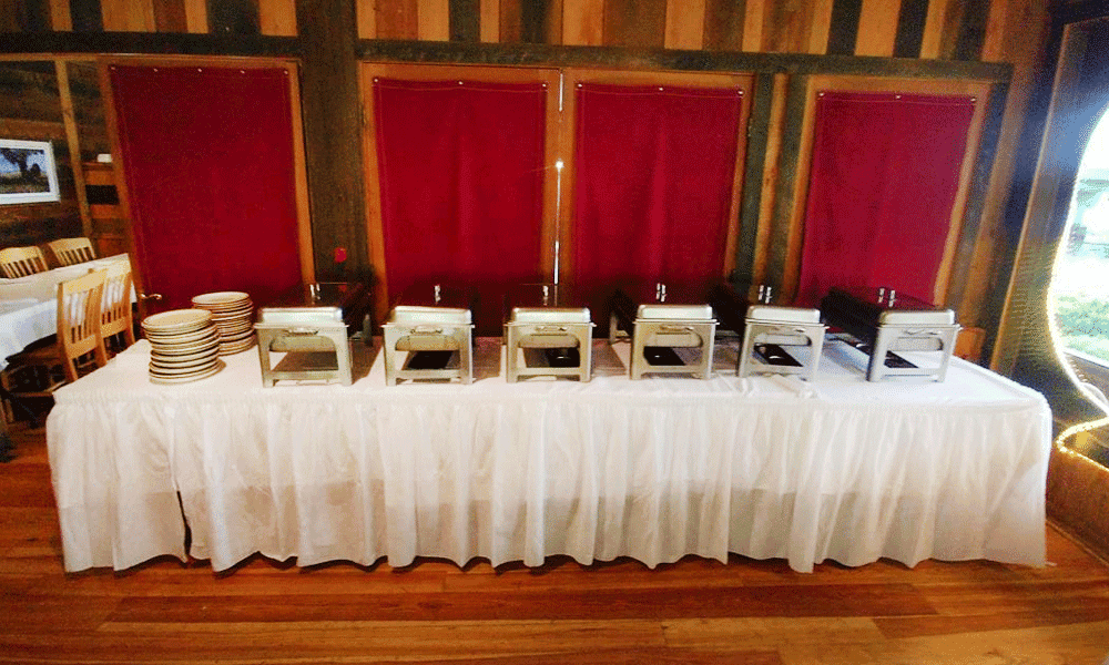 table with a buffet