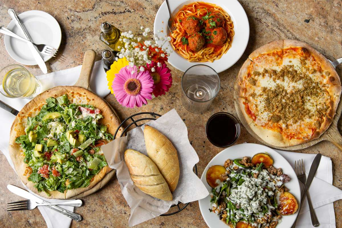 assorted pasta and pizza dishes