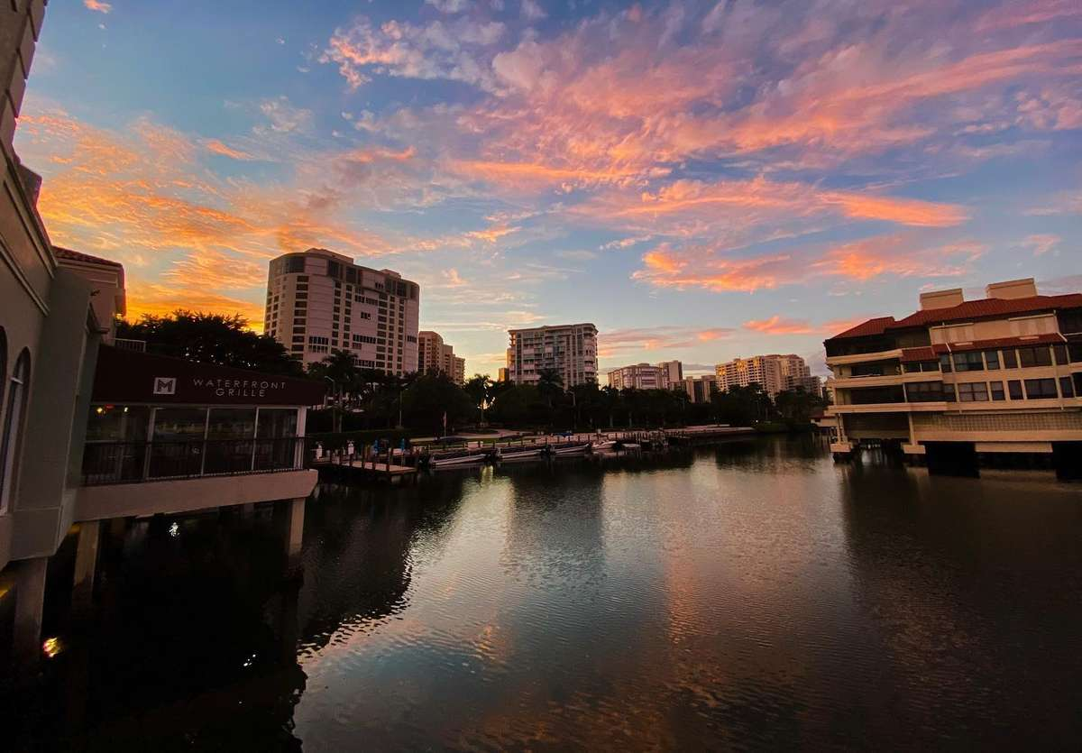 Sunset on waterfront