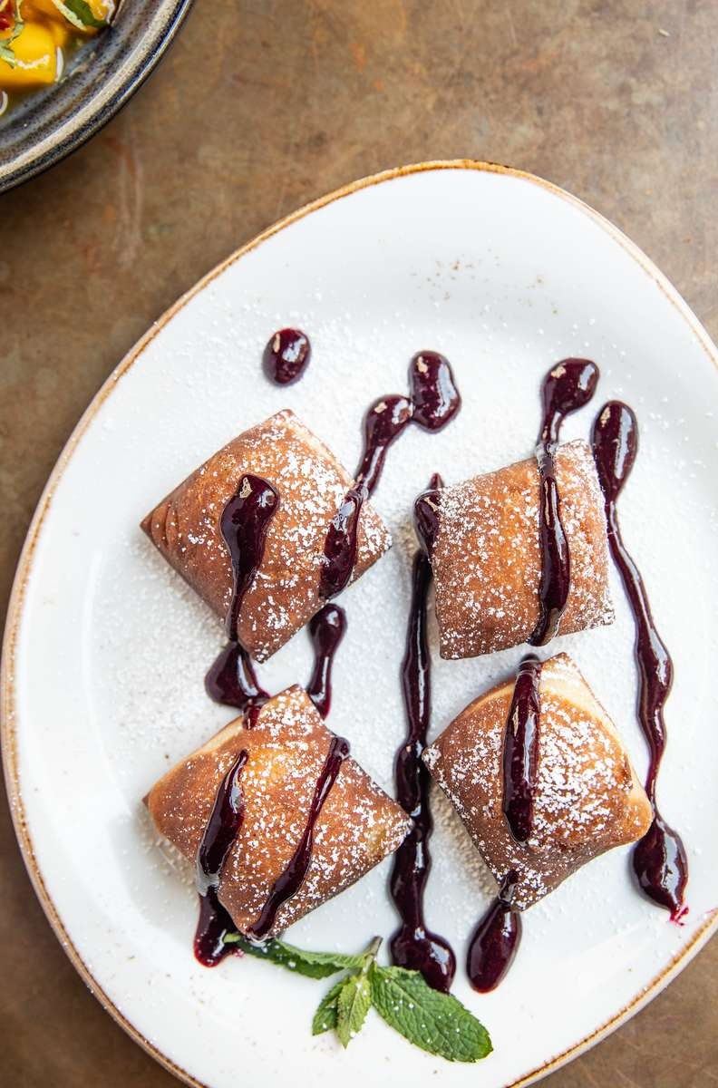 Beignets (With Lime Curd + Blueberry Compote)