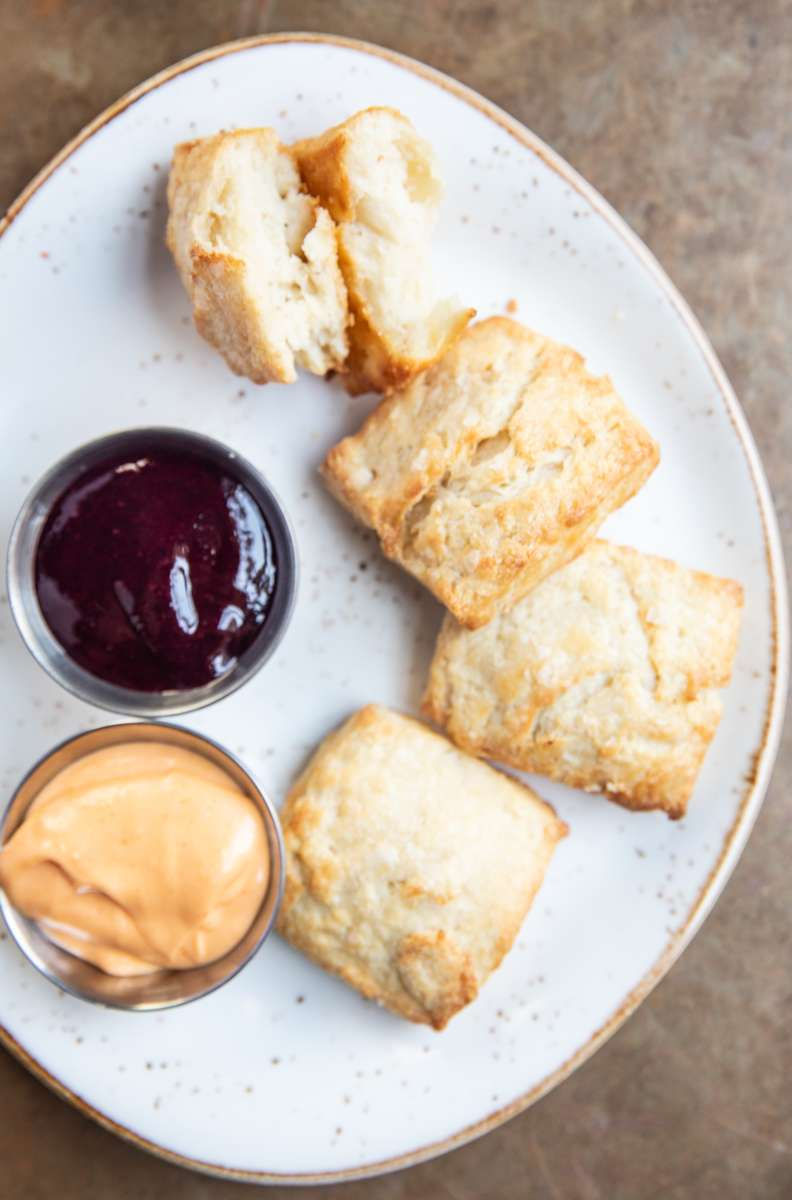 Biscuits (With Jam + Crystal Hot Sauce Hollandaise)