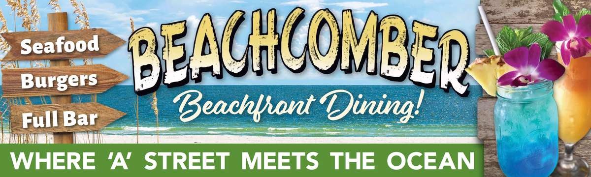beachcomber st. augustine. beachfront dining - where A street meets the ocean - seafood, burgers, full bar