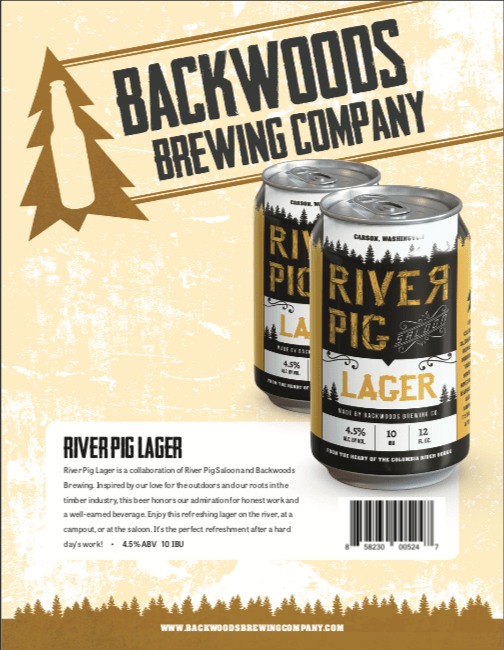 cans of river pig lager - click to download PDF