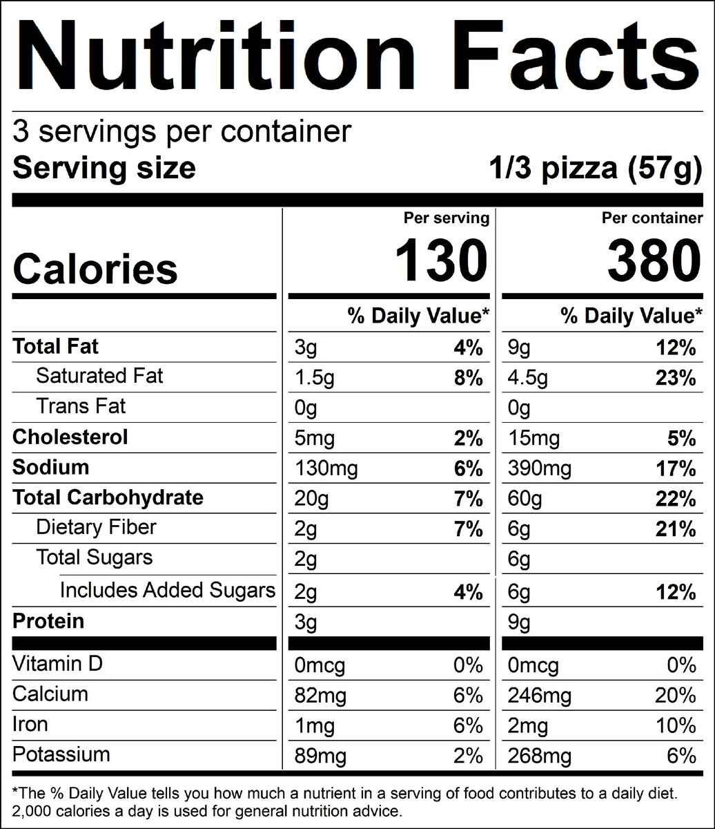 nutrition label; 1 serving 130 cal; 3g fat; 1.5g saturated fat; 0g trans fat; 5mg cholesterol; 130mg sodium; 20g total carbohydrates; 2g dietary fiber; 2g total sugars includes 2g added sugars; 3g protein; 0mcg vitamin d; 82mg calcium; 1mg iron; 89mg potassium