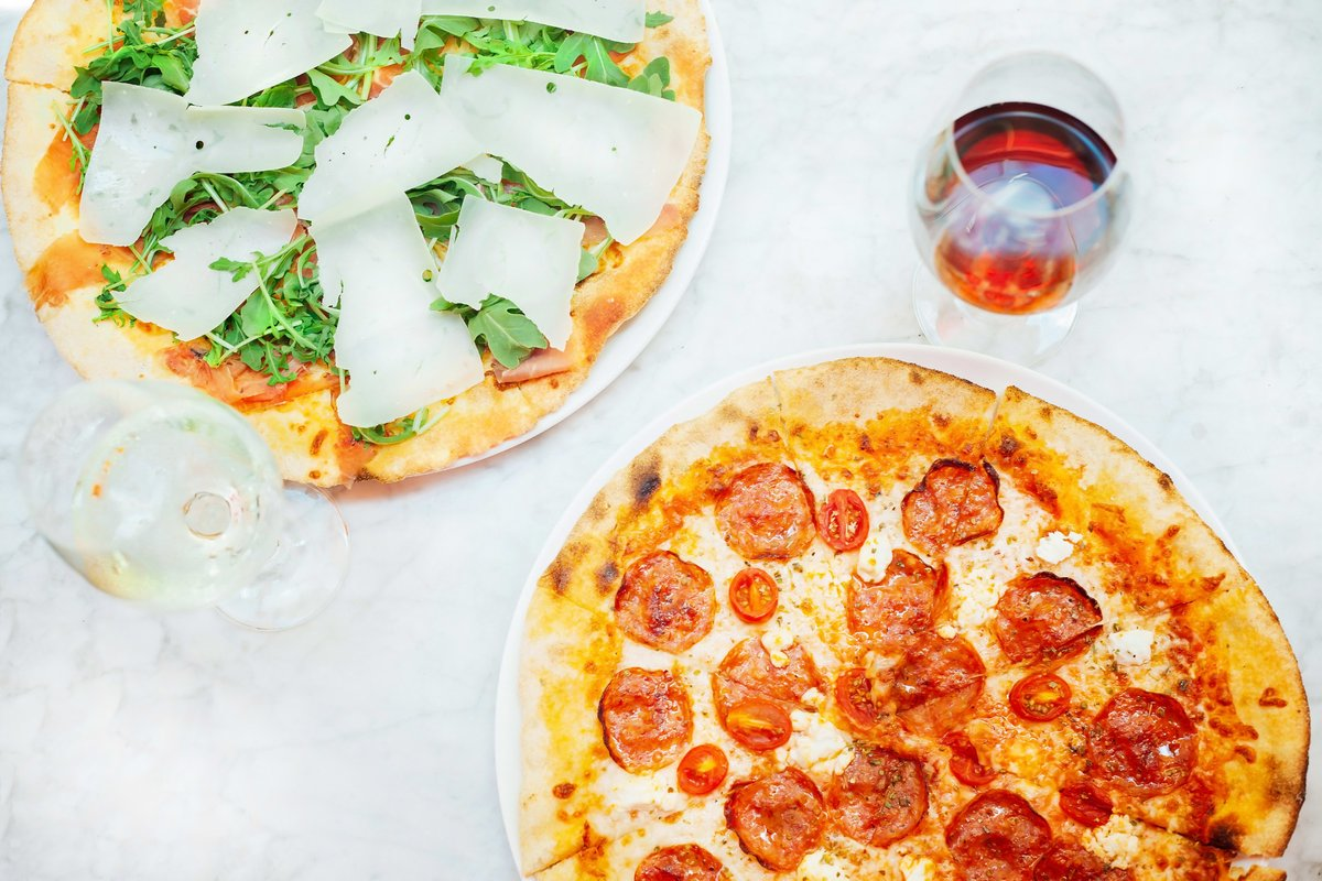 pizzas and wine