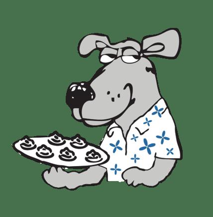 dog holding food tray