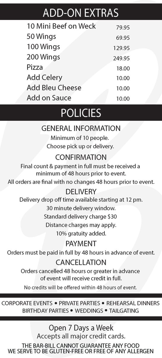 Drop Off Catering Add-On Items & Policies