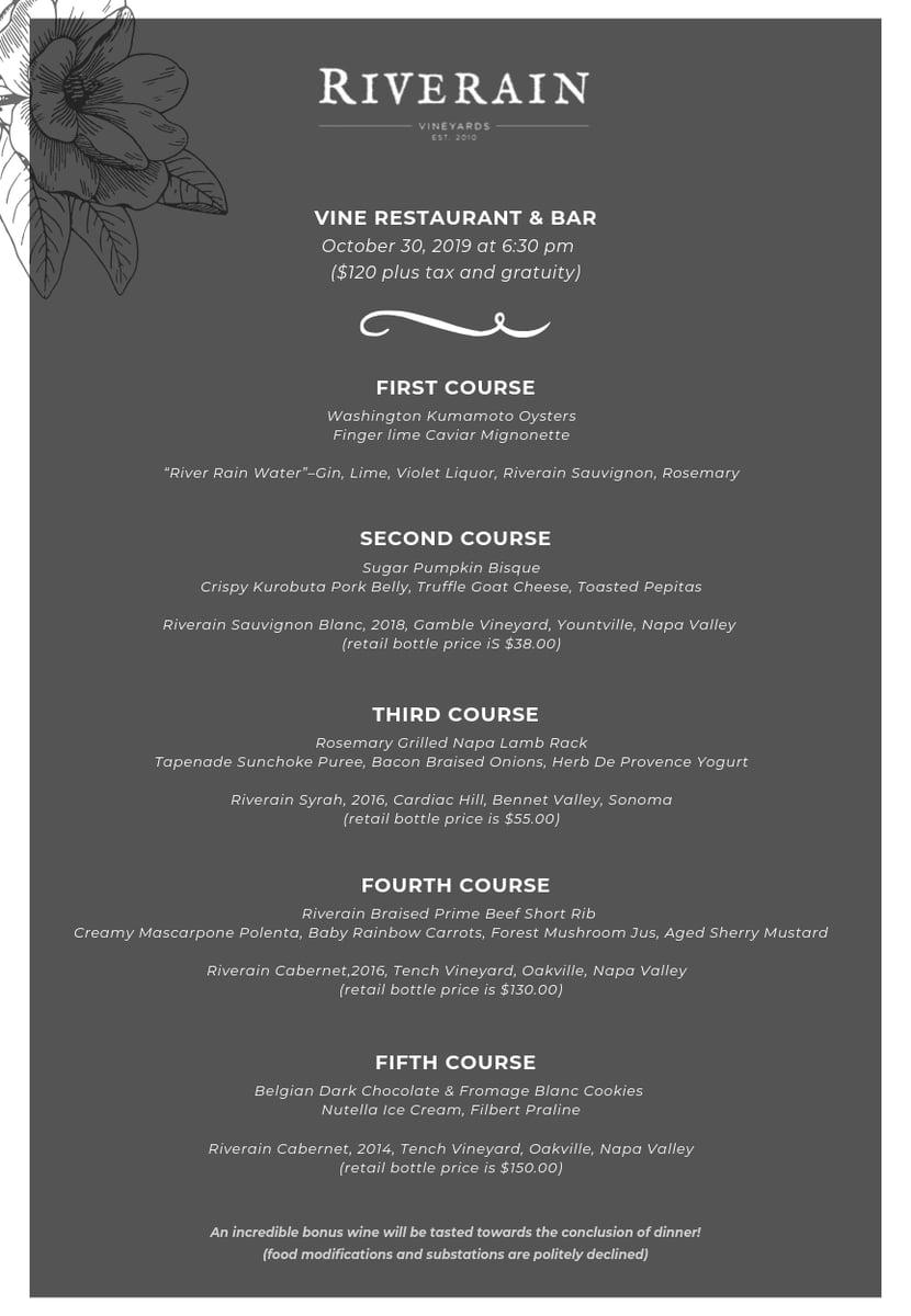 riverain wine dinner menu
