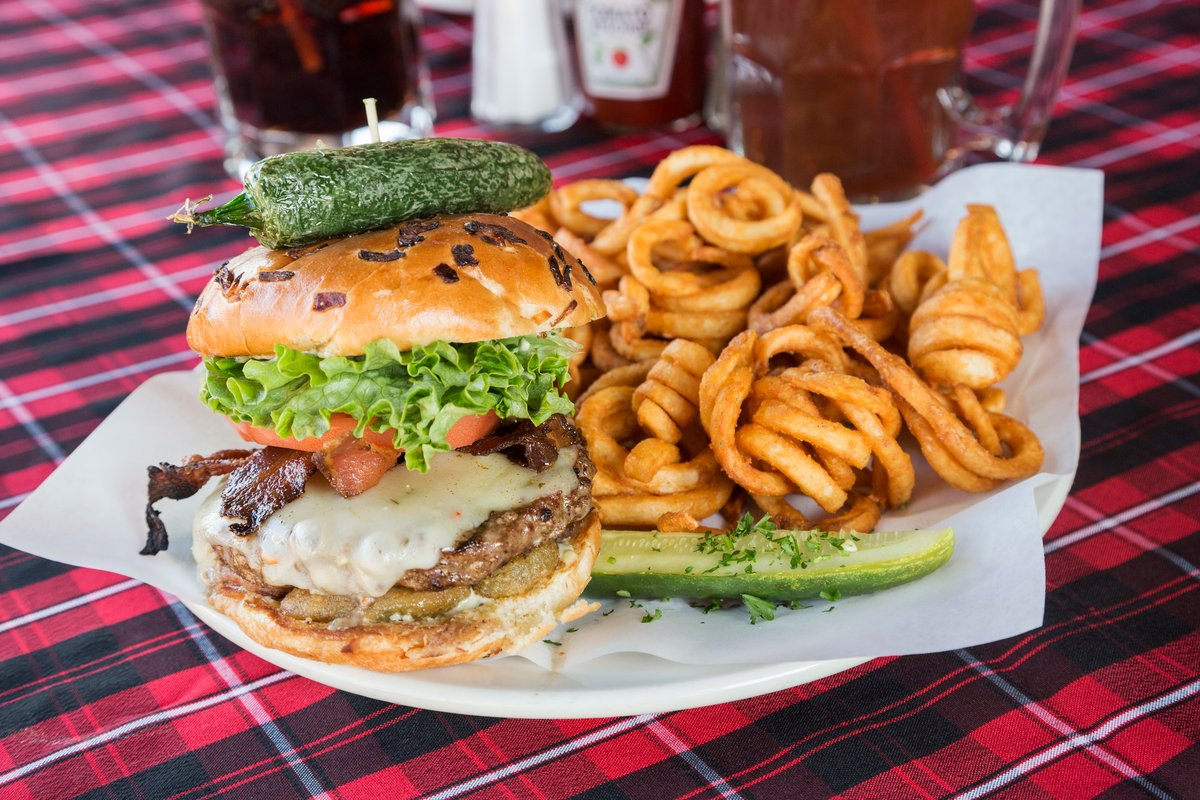burger and curly fries