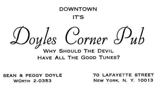 Doyles Corner Pub advertisement