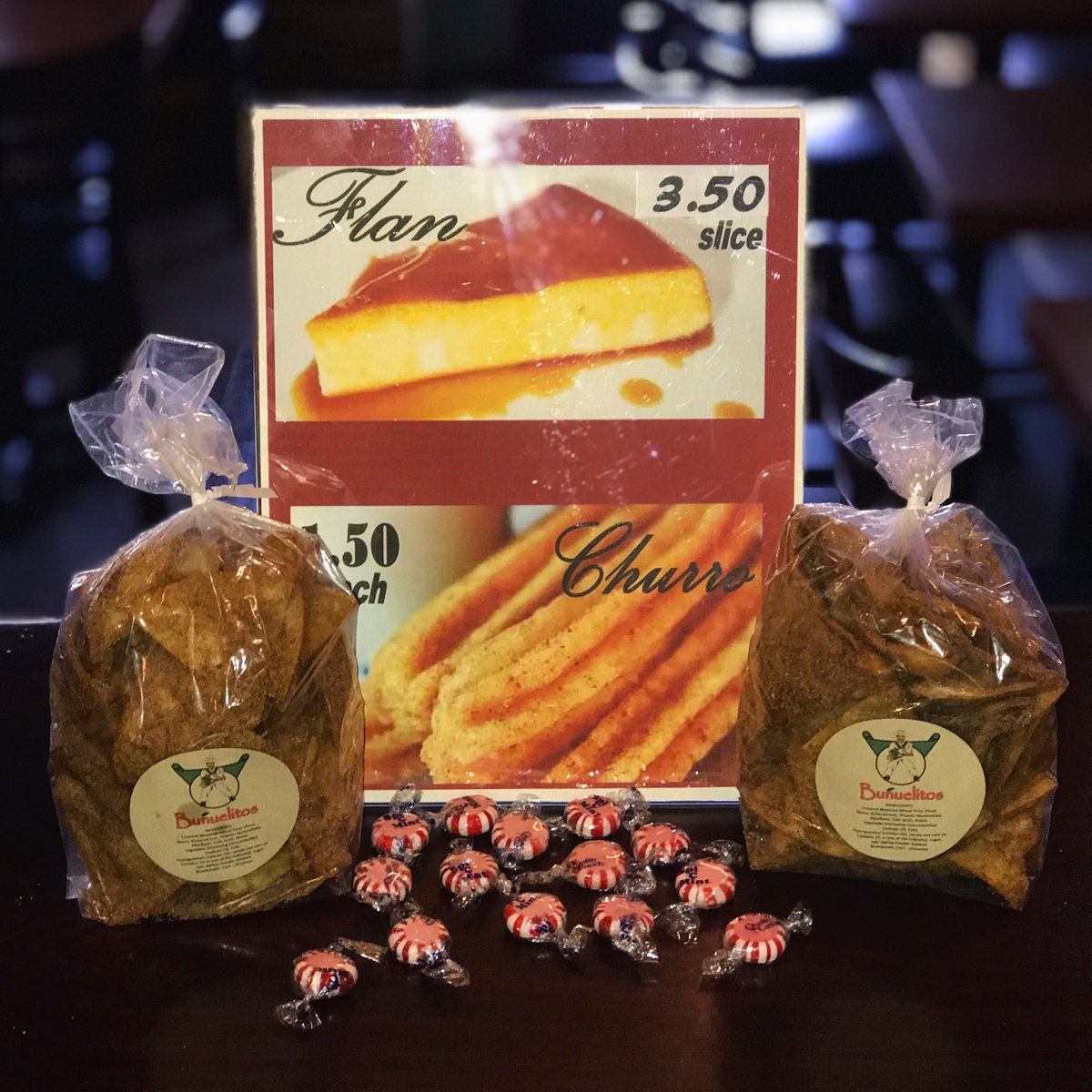 choose from Cinnamon Chips, Flan or Churro