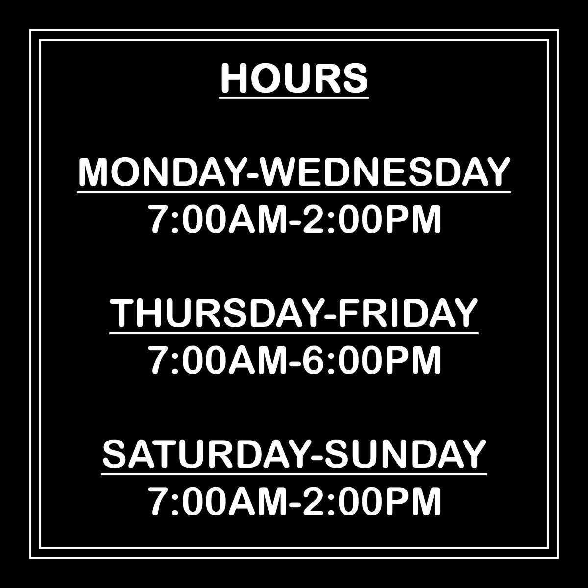take-out hours