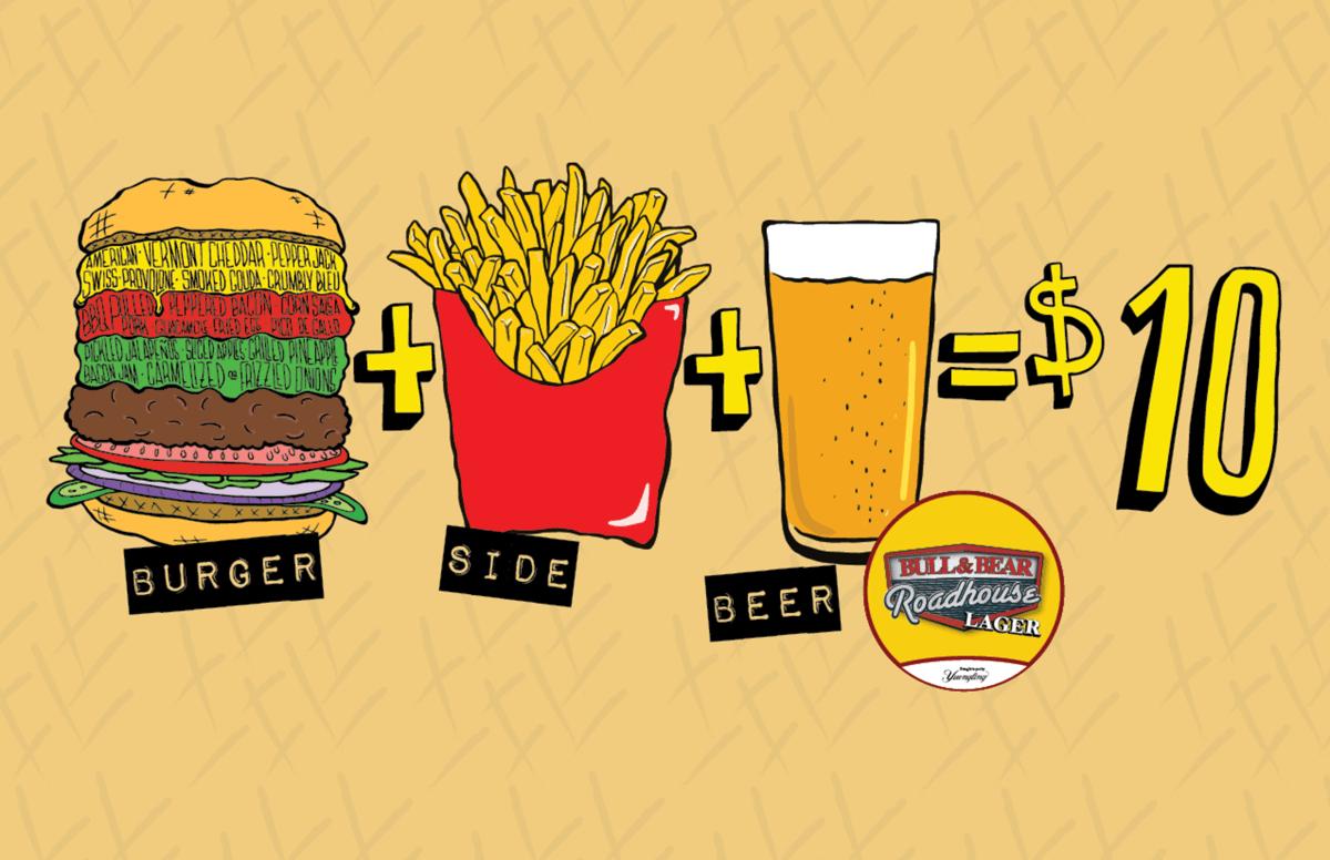 burger + side + beer = $10