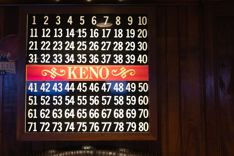 keno numbers board