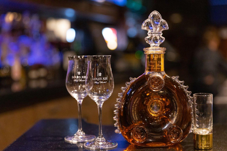 liquor glasses and bottle