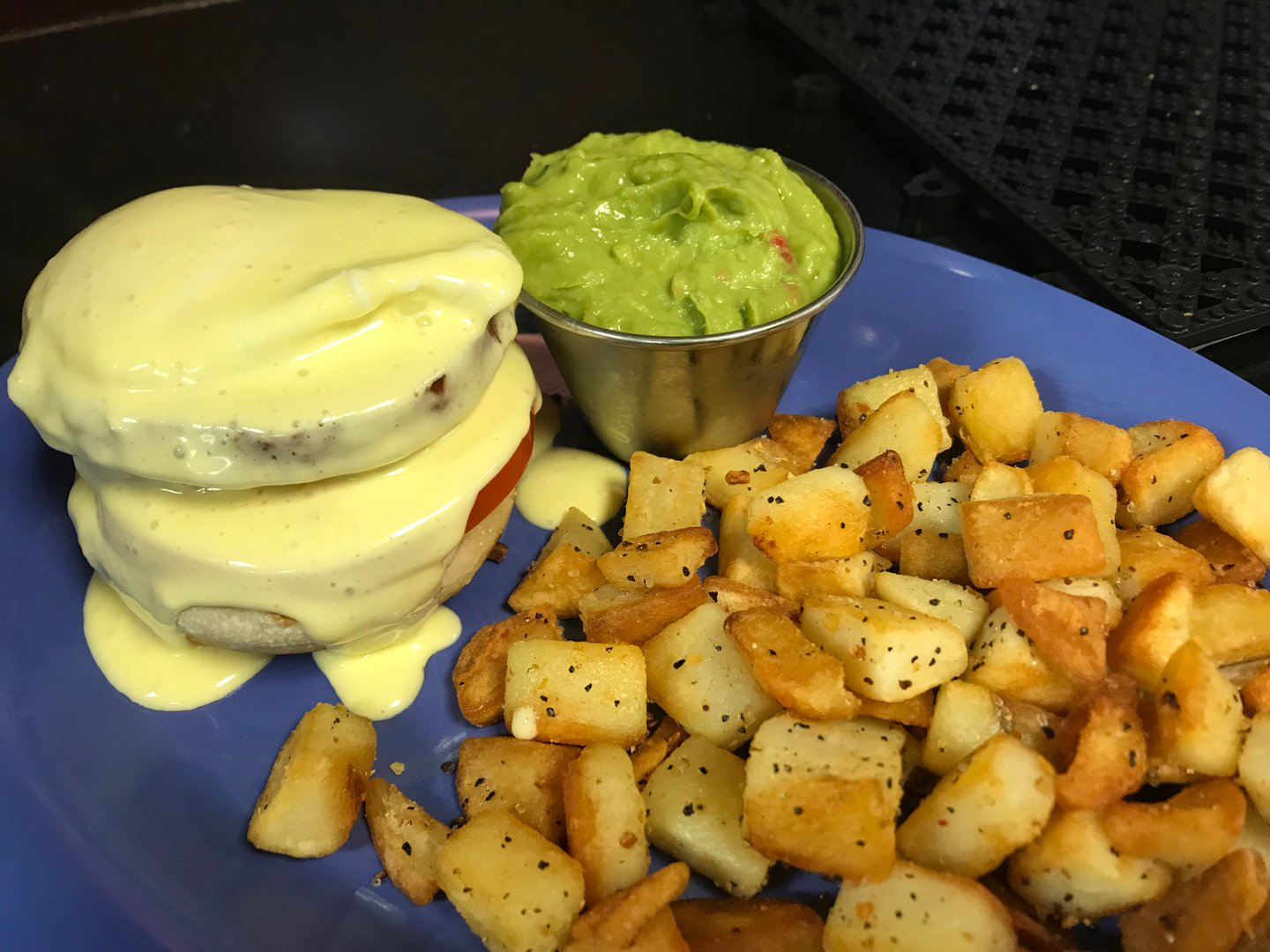 poached egg with a side of homefries