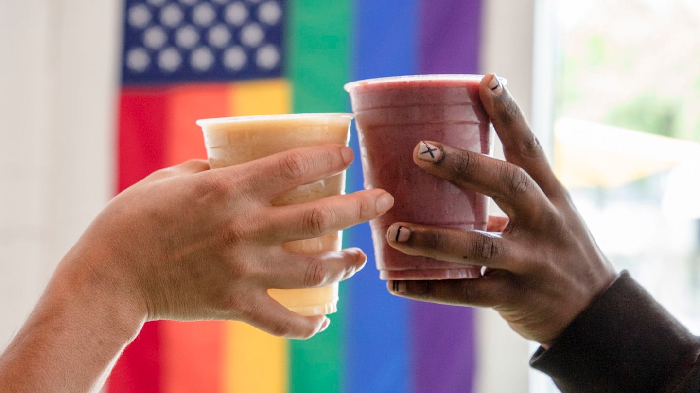 smoothies in front of flag