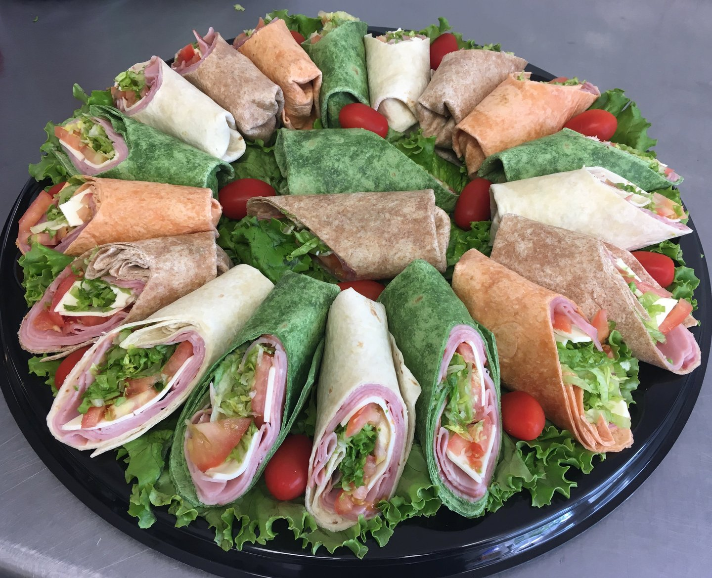 assorted wrap platter-angle cut