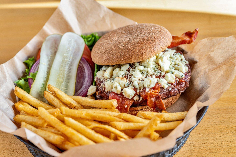 Black & Bleu burger and fries