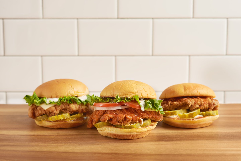 three chicken burgers