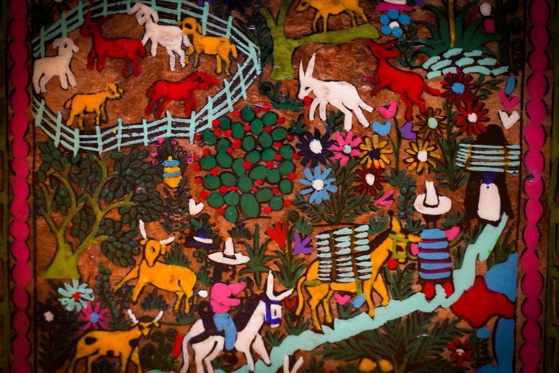 Tapestry inside restaurant
