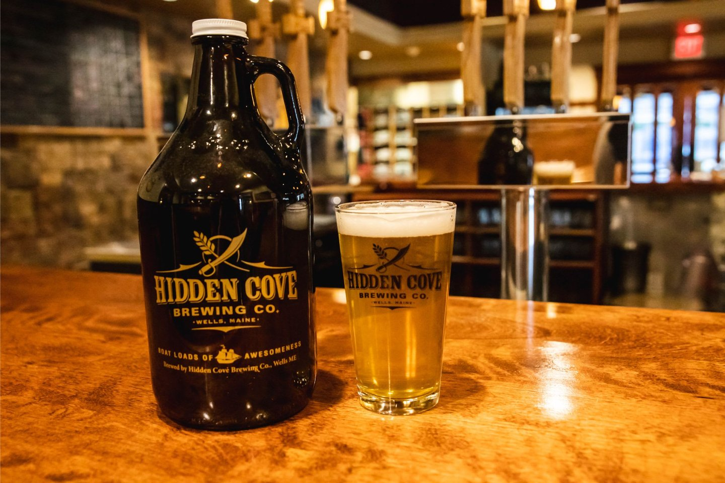 growler with glass of beer