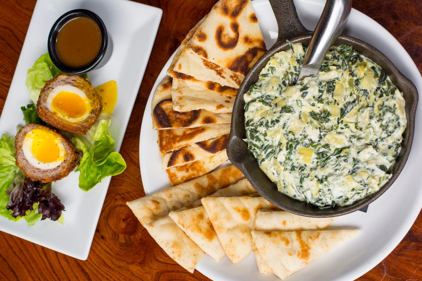 scottish eggs and artichoke dip