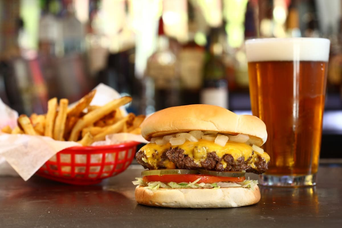 burger fries and beer