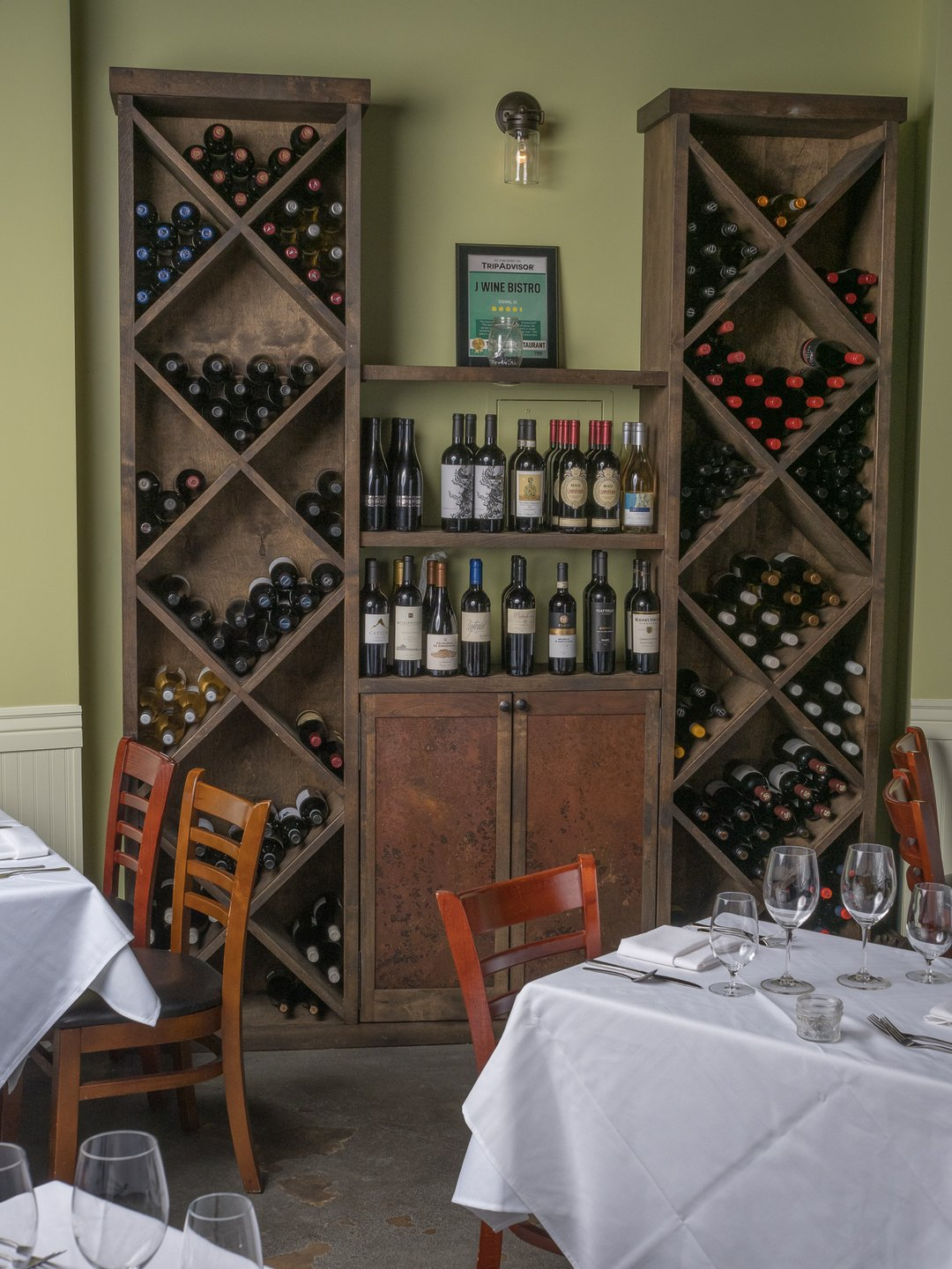wine rack and seating area