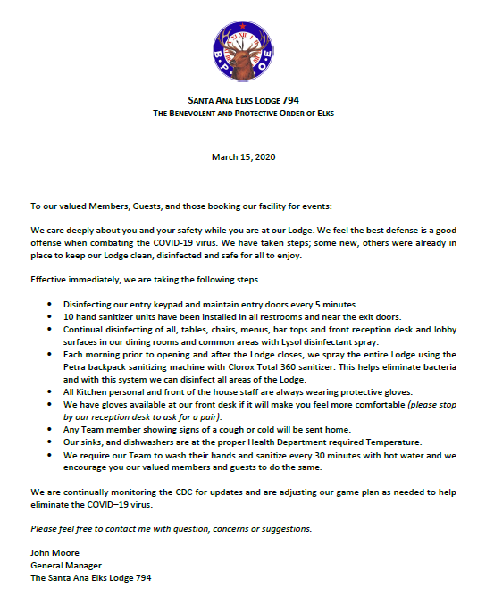 Letter regarding covid 19 and our safety precautions