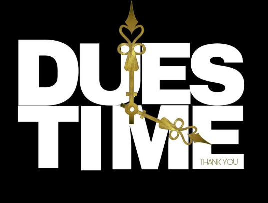 A CLOCK SAYING DUES TIMES
