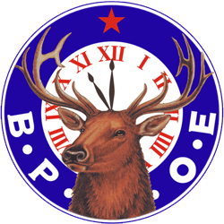 Pictures of the Elks logo Elk and a clock showing 11 pm