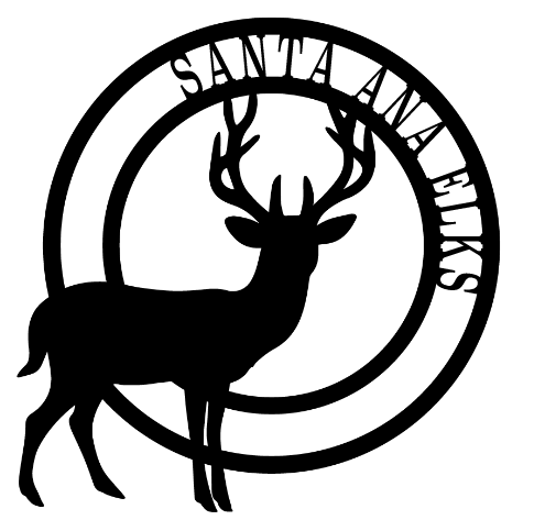 SA Elks name in a circle with an elk