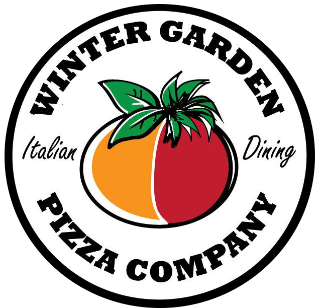 "Illustrated red and gold tomato with green leaves circled by the text ""Winter Garden Pizza Company Italian Dining"""