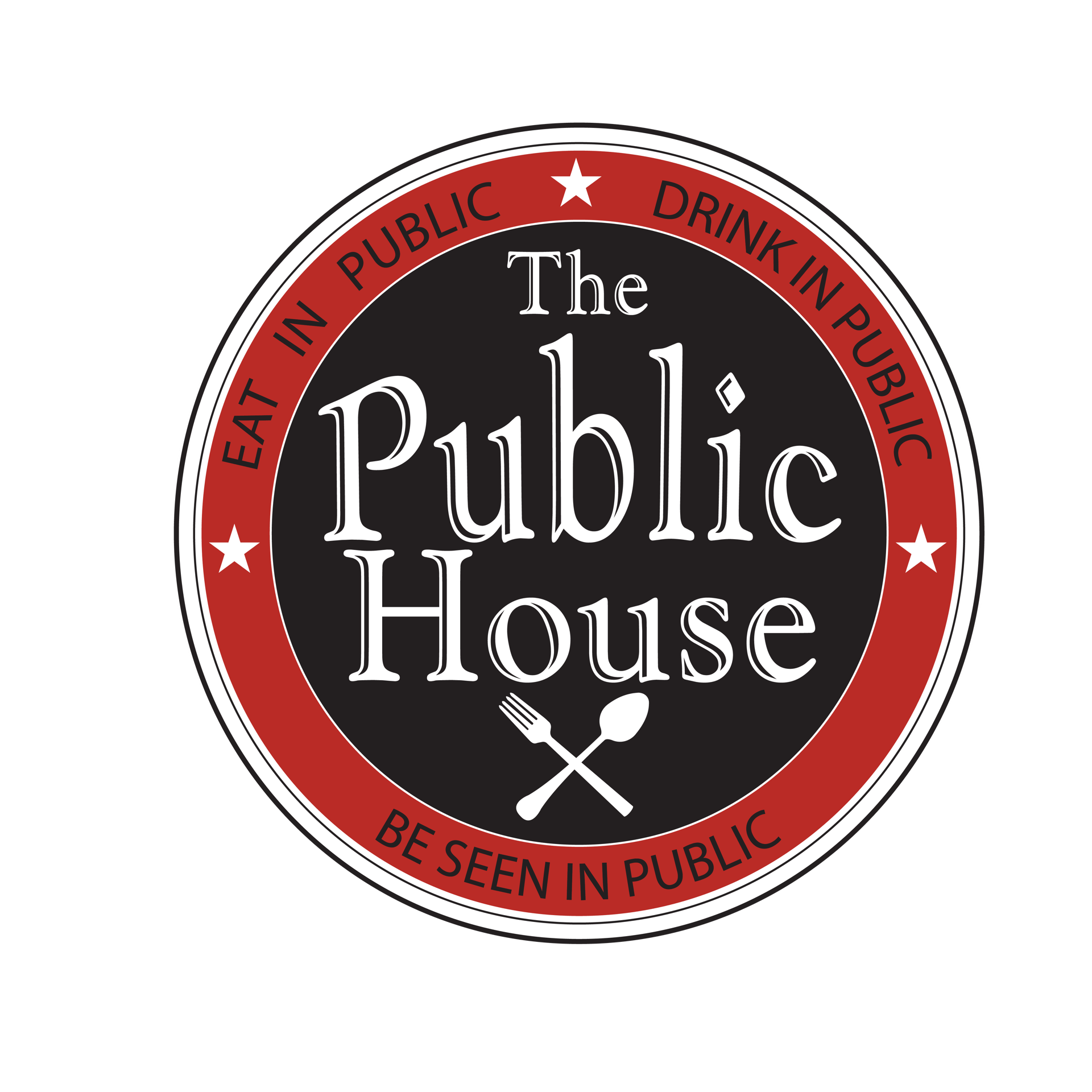 The Public House Logo with icon of silverware