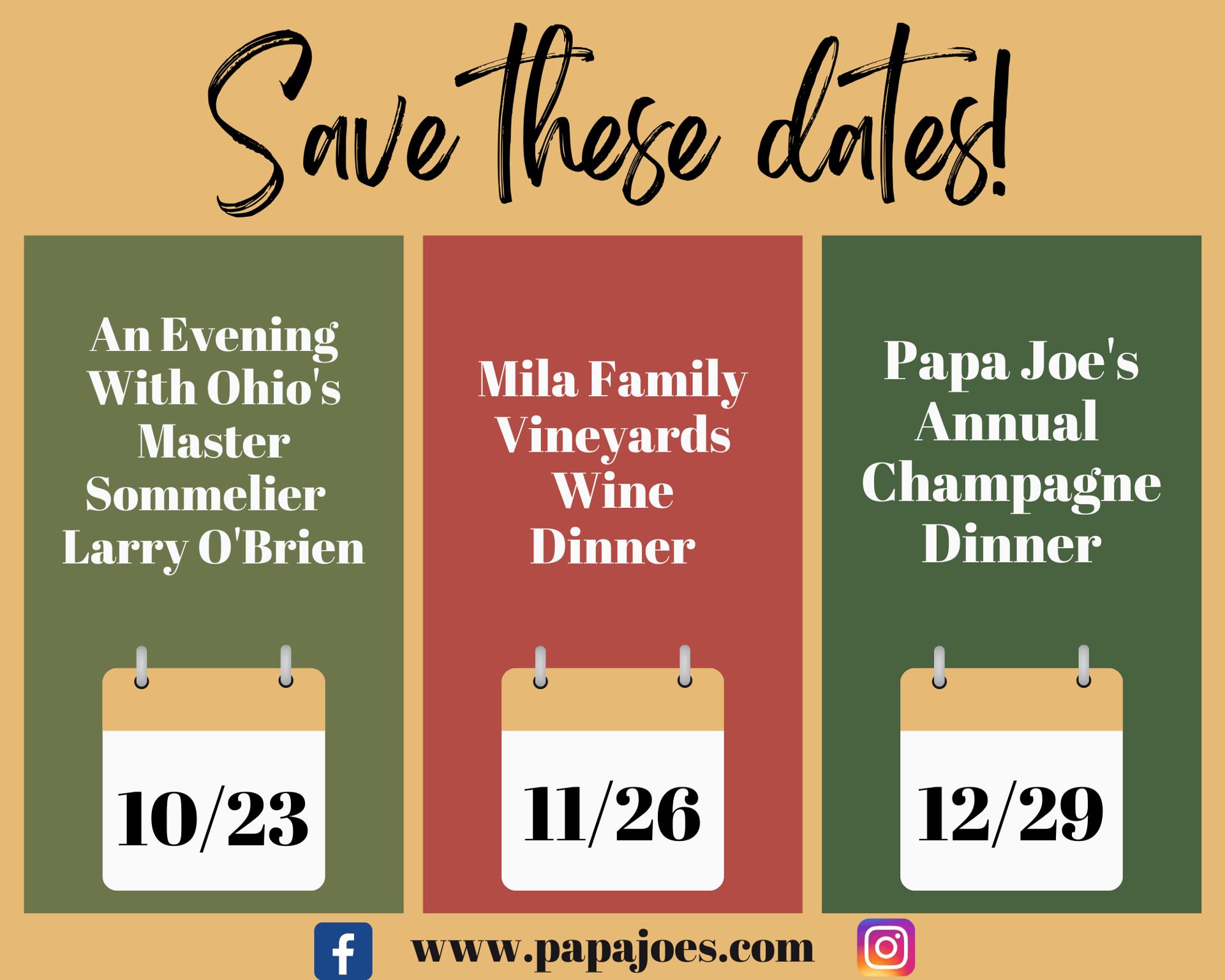 Upcoming Wine Dinners