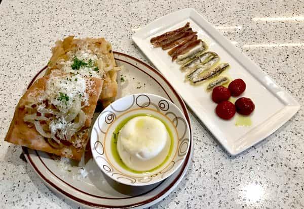 Onion Focaccia & Burrata