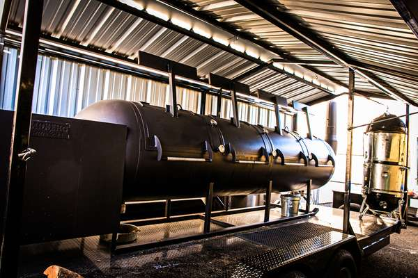 Use our 1,000 gallon Moberg smoker, or one of several Webers on site