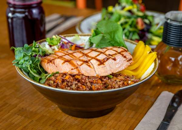 Grilled Salmon On Brown Rice