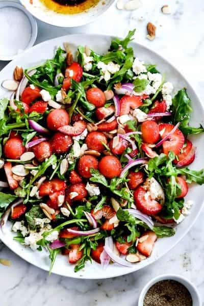 Grilled Watermelon & Peach Salad with Arugula + Feta