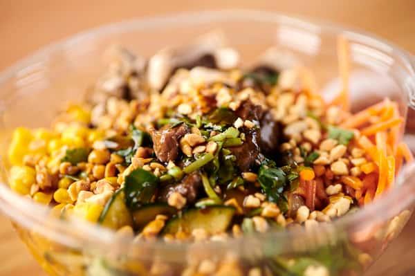veggie bowl, wrap and drinks