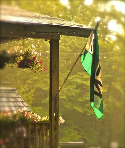 porch with flag