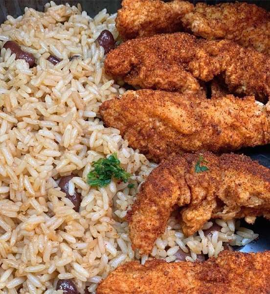 red beans with rice and wings