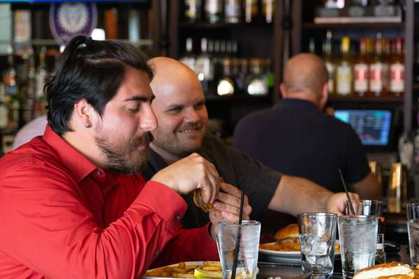 Group enjoying the bar