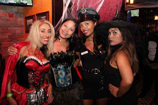 Ladies dressed in halloween costumes at an event at Liam Fitzpatrick's