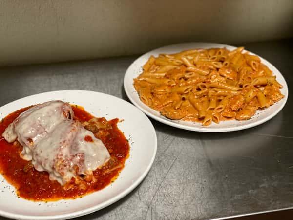 Two pasta entrees